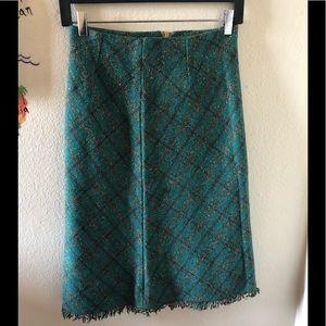 Anthropologie tweed green skirt